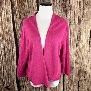 EILEEN FISHER Open Linen Knit Cardigan Sweater 1X